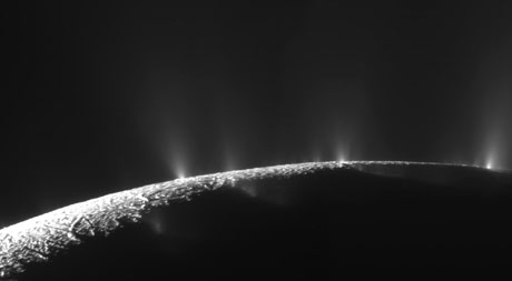 Water plumes jetting into space from the south polar region of Saturn's moon Enceladus